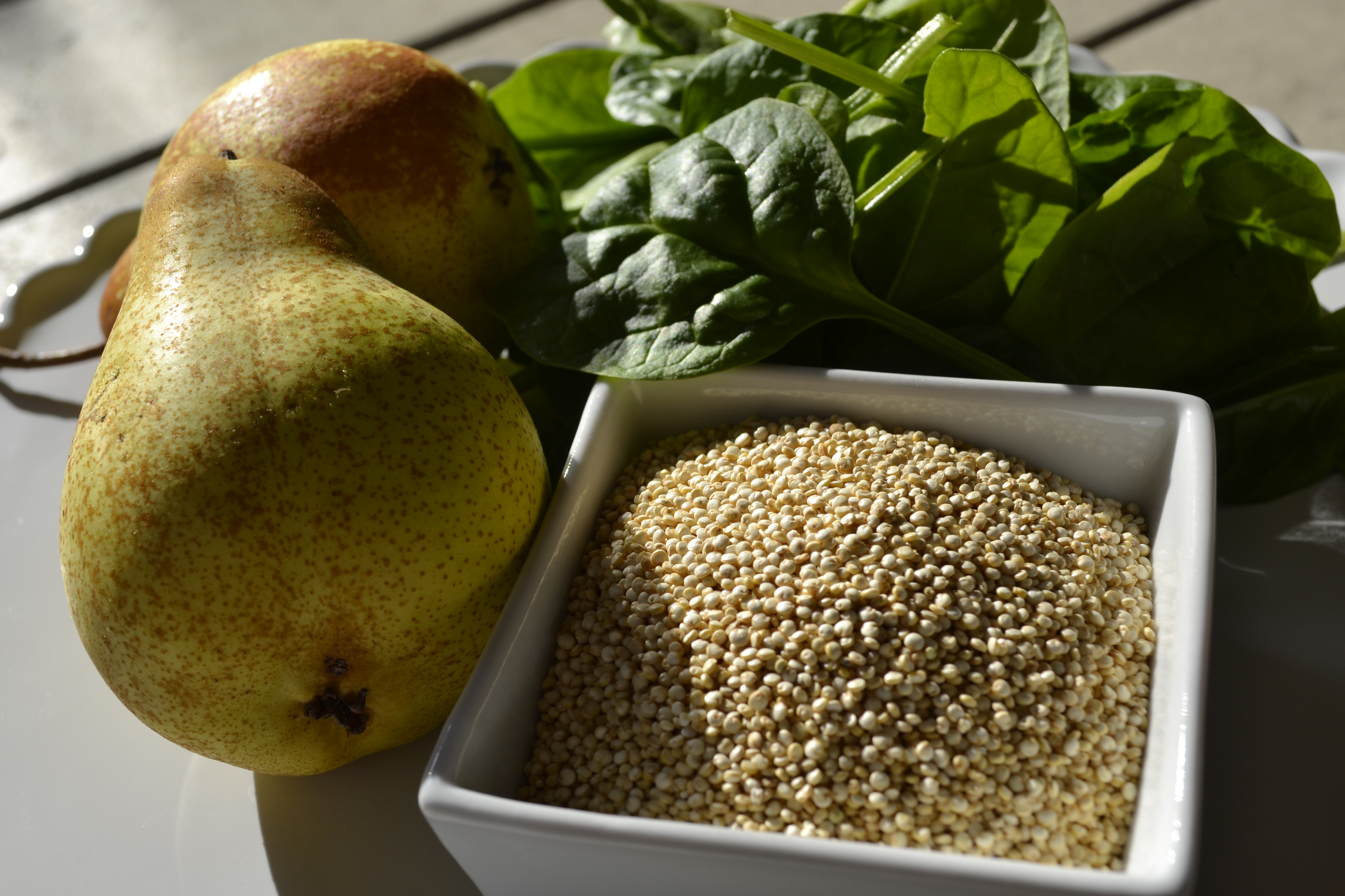 spinach, pear and quinoa puree